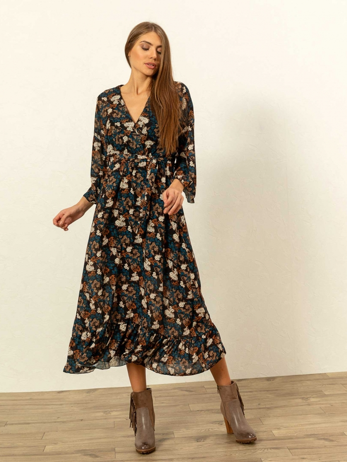 Maxi κρουαζέ φόρεμα με λουλούδια