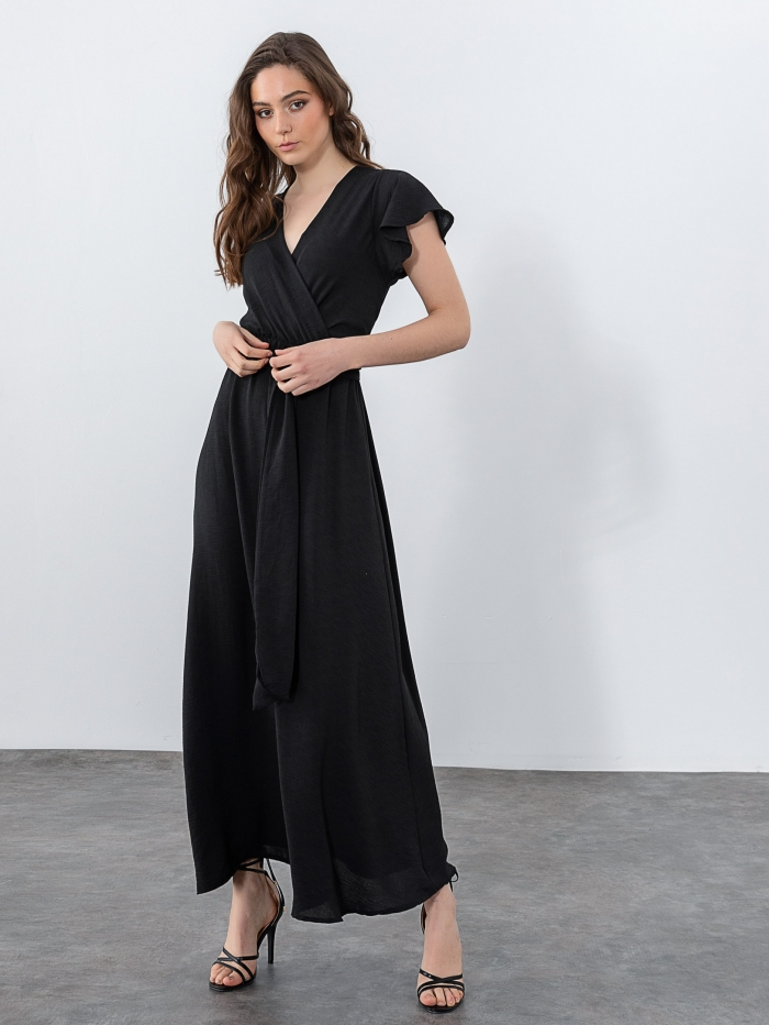 Maxi κρουαζέ φόρεμα με ζώνη