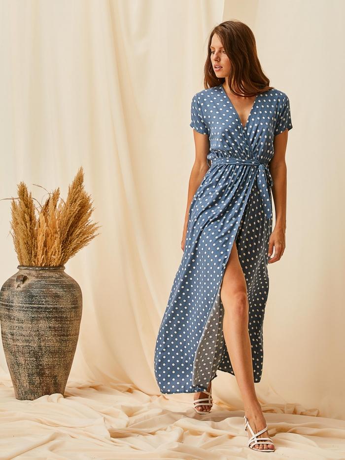 Maxi πουά φόρεμα