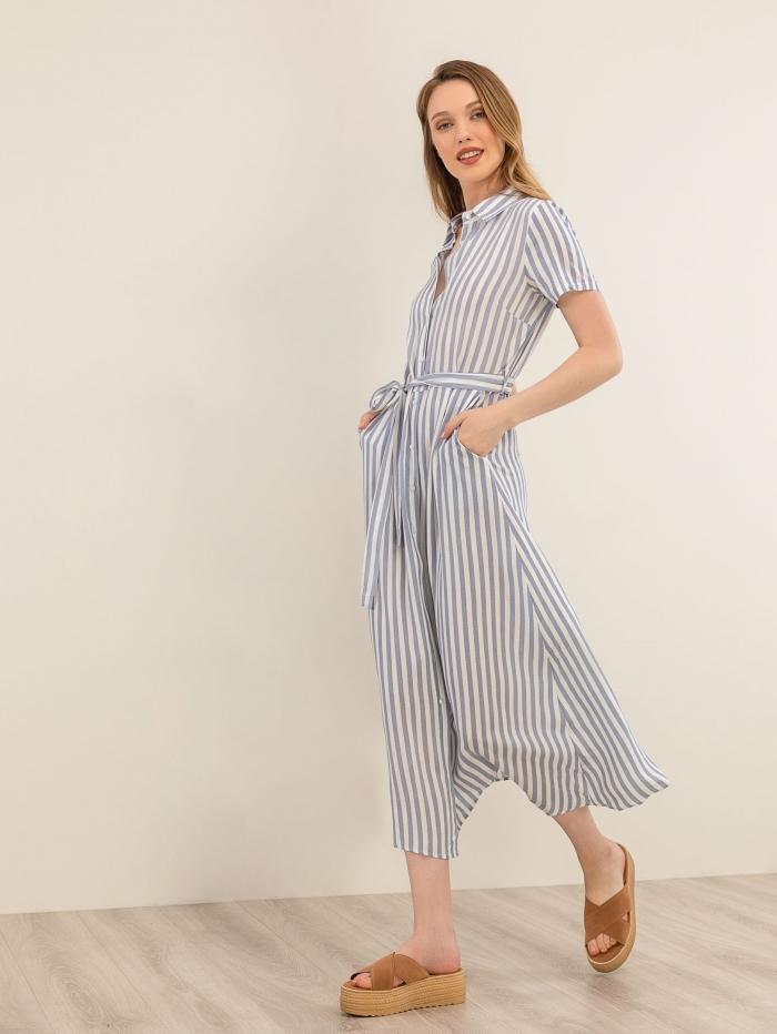 Maxi ριγέ φόρεμα πουκάμισο