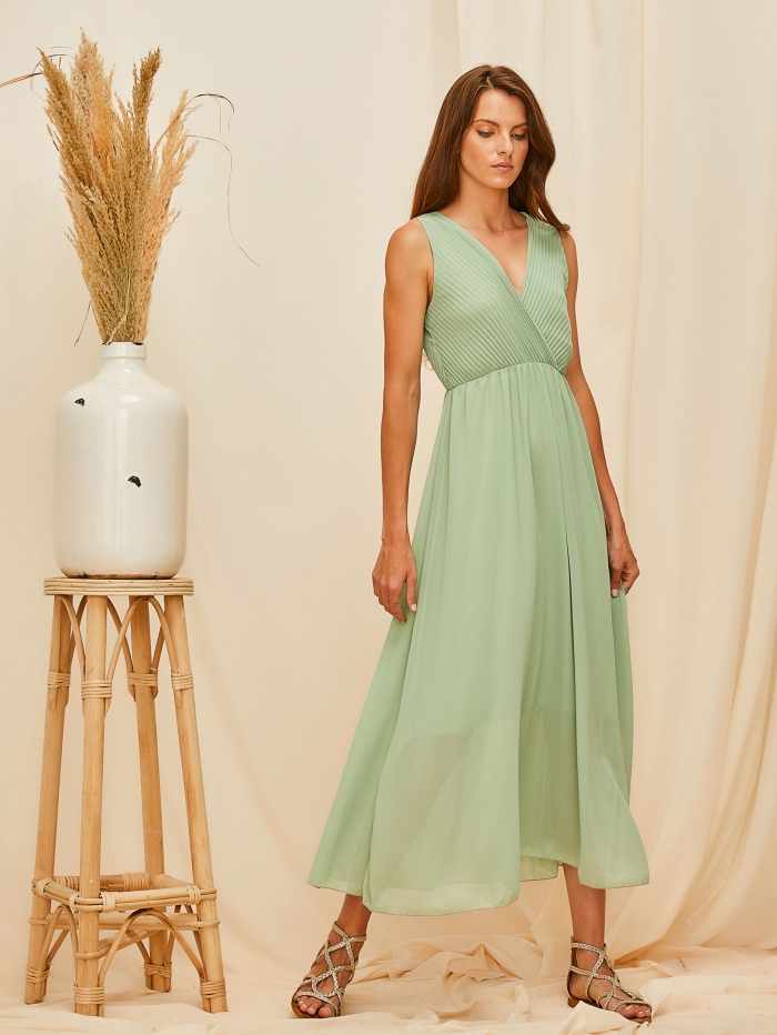 Midi αμάνικο φόρεμα