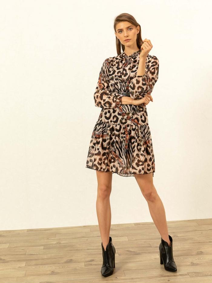 Mini animal print φόρεμα