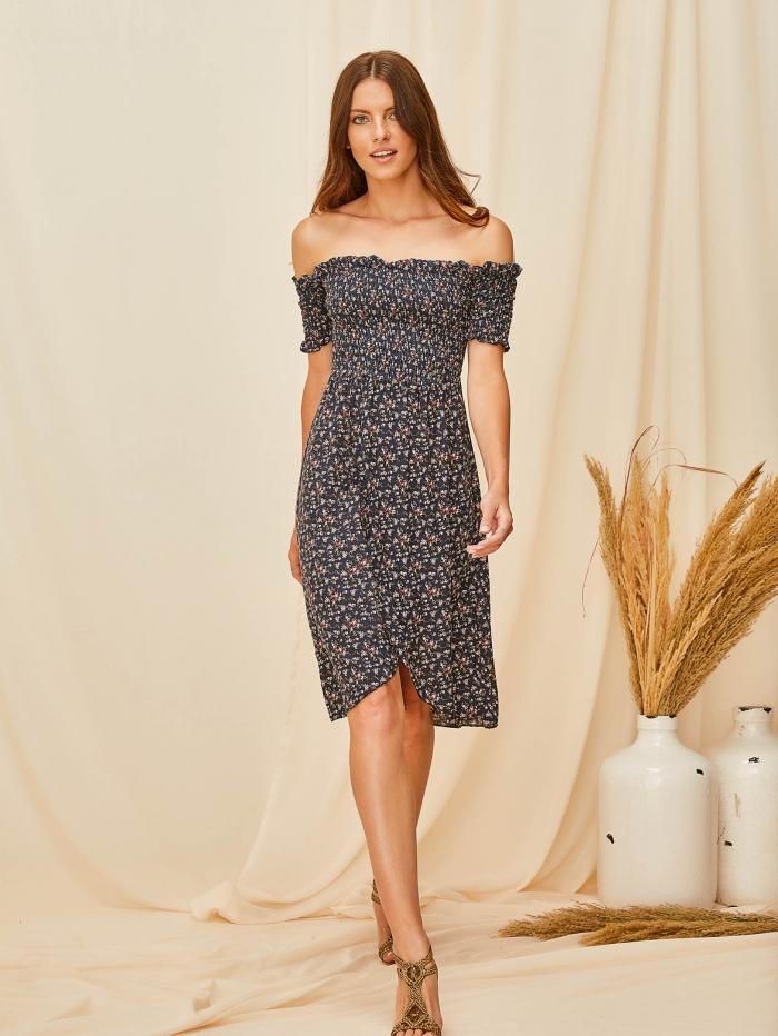Midi φλοράλ φόρεμα με σφηκοφωλιά