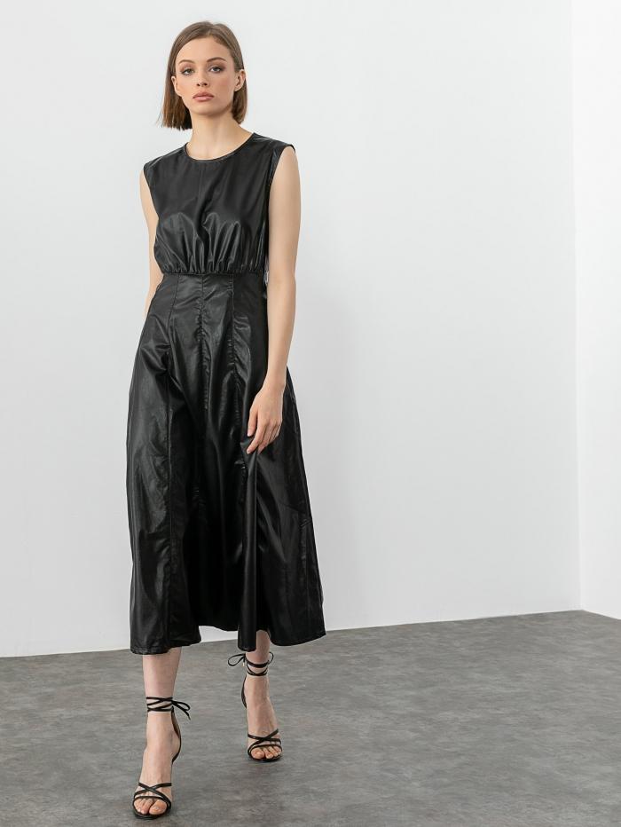 Midi φόρεμα δερματίνη