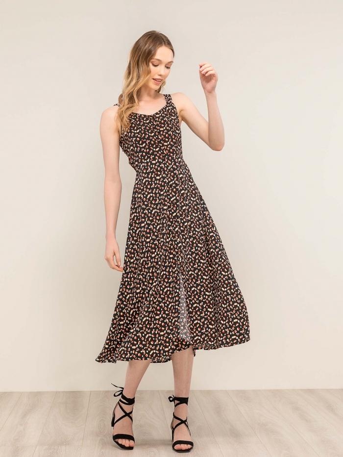 Midi φόρεμα με άνοιγμα στην πλάτη