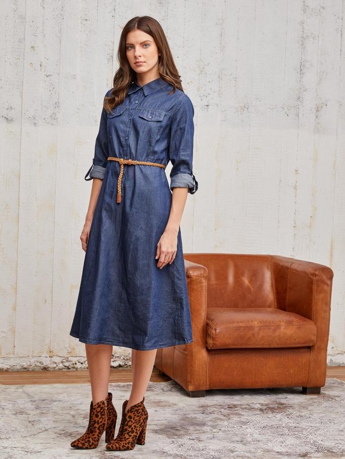 Midi φόρεμα με denim όψη