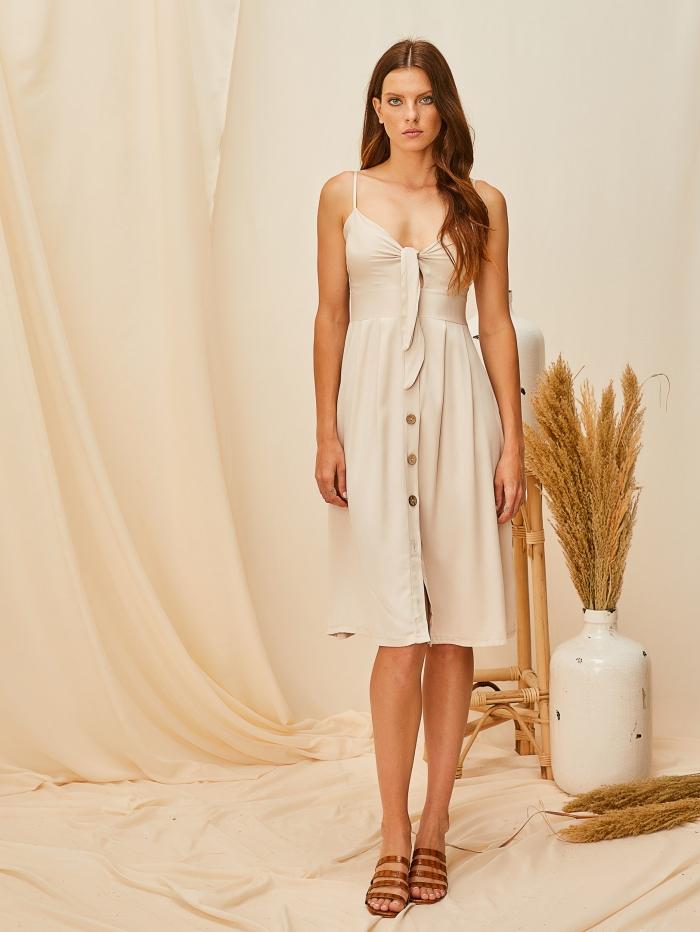 Midi φόρεμα με δέσιμο στο μπούστο