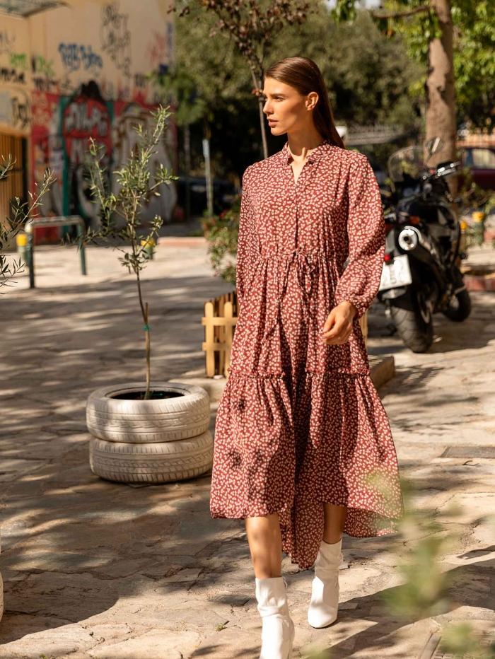 Midi φόρεμα με λουλουδάτο σχέδιο