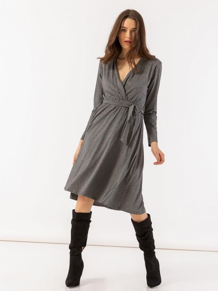 Midi φόρεμα με μεταλλόνημα