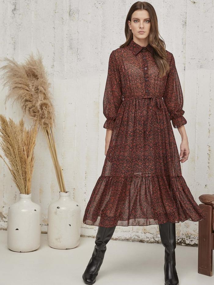 Μidi φόρεμα με mini fleurs σχέδιο