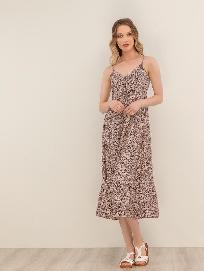 Midi φόρεμα με μοτίβο και βολάν