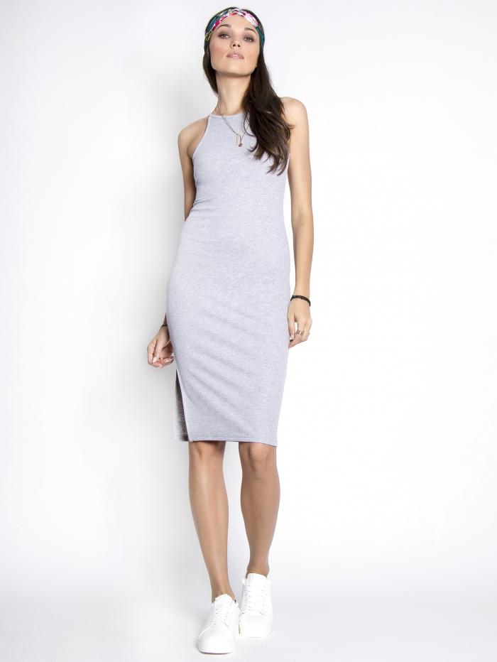 Midi φόρεμα με σκίσιμο στο πλάι