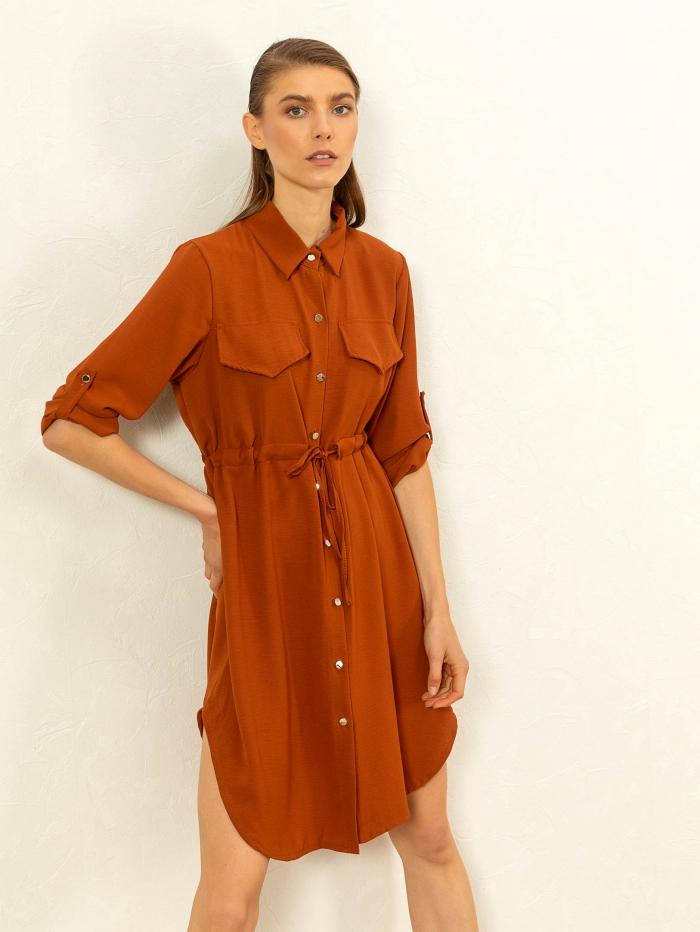 Midi φόρεμα πουκάμισο