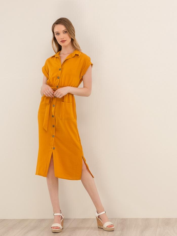 Midi φόρεμα πουκάμισο με κοκάλινα κουμπιά