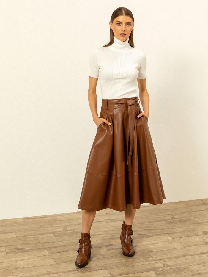 Midi φούστα με όψη δέρματος