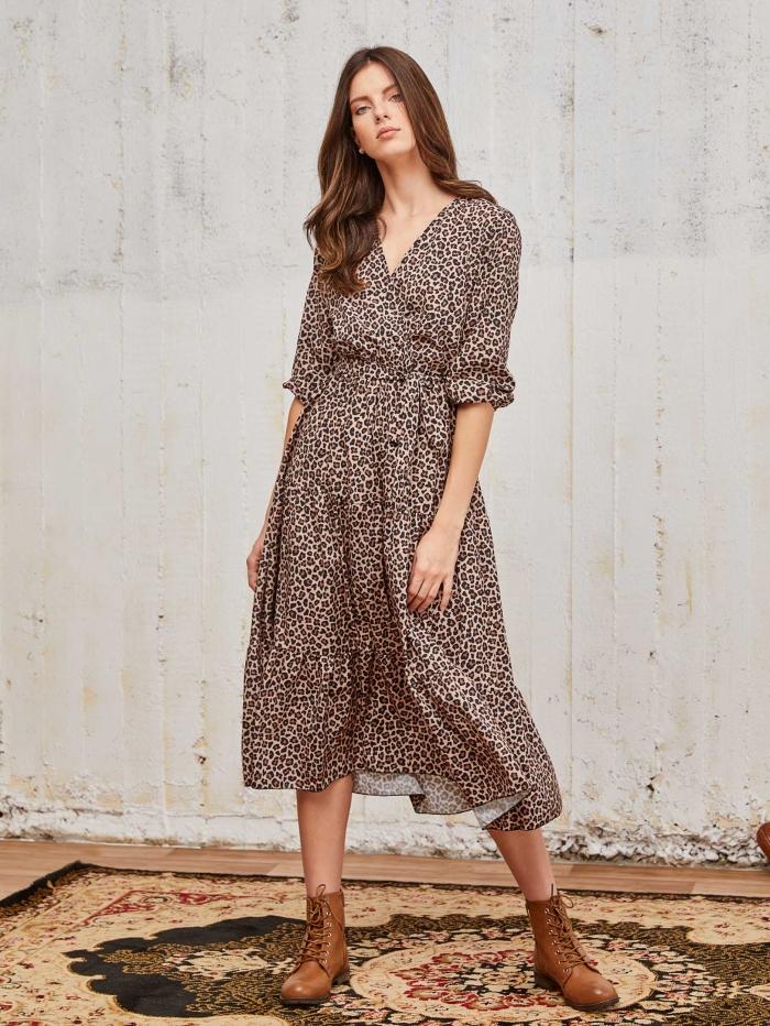 Midi λεοπάρ κρουαζέ φόρεμα