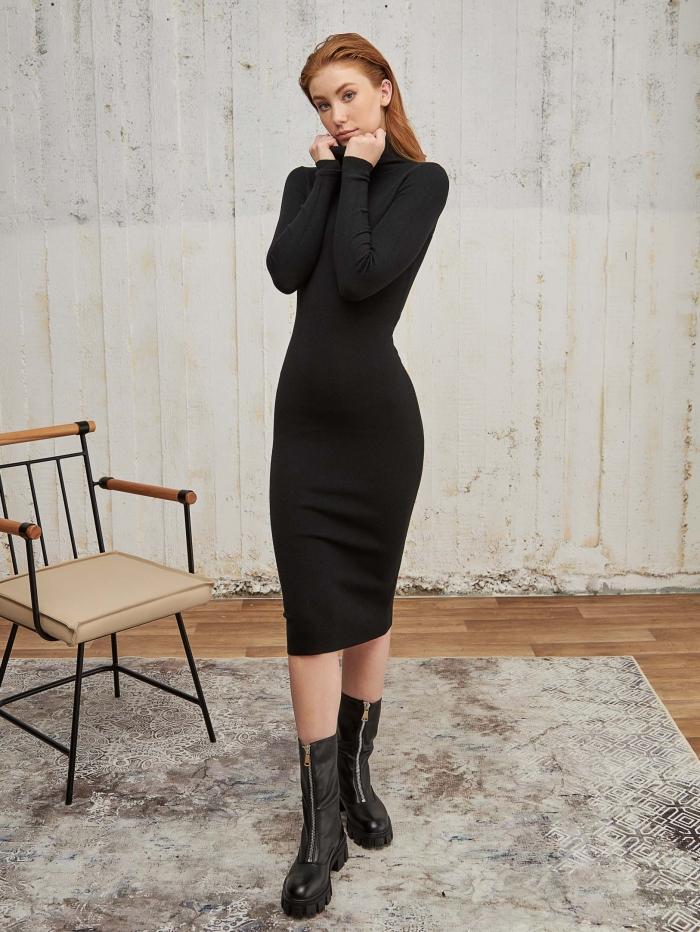 Midi πλεκτό rib φόρεμα