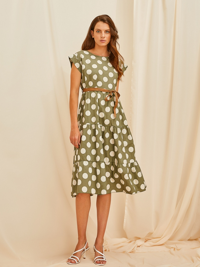 Midi πουά φόρεμα