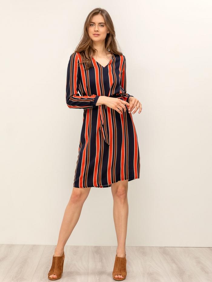 Midi ριγέ φόρεμα