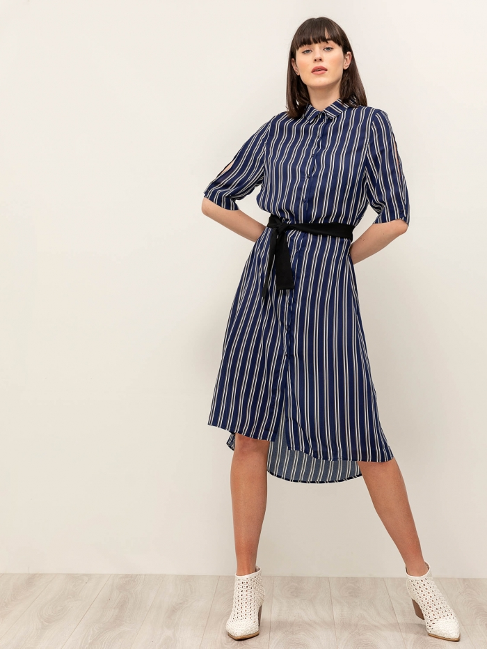 Midi ριγέ φόρεμα με ζώνη