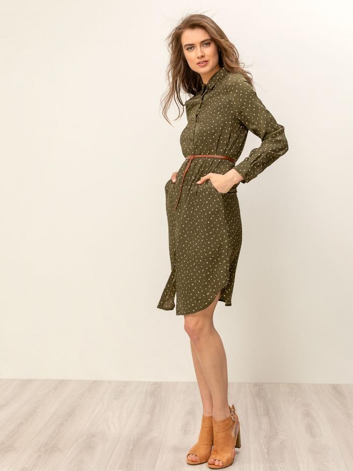 Midi σεμιζιέ φόρεμα εμπριμέ