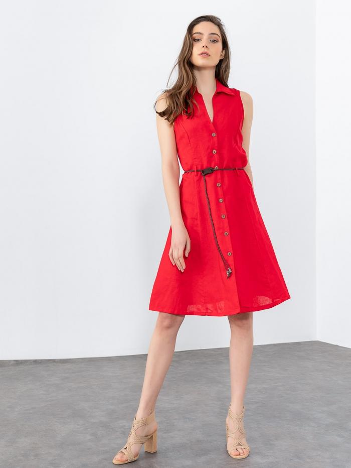 Midi σεμιζιέ φόρεμα με ζωνάκι