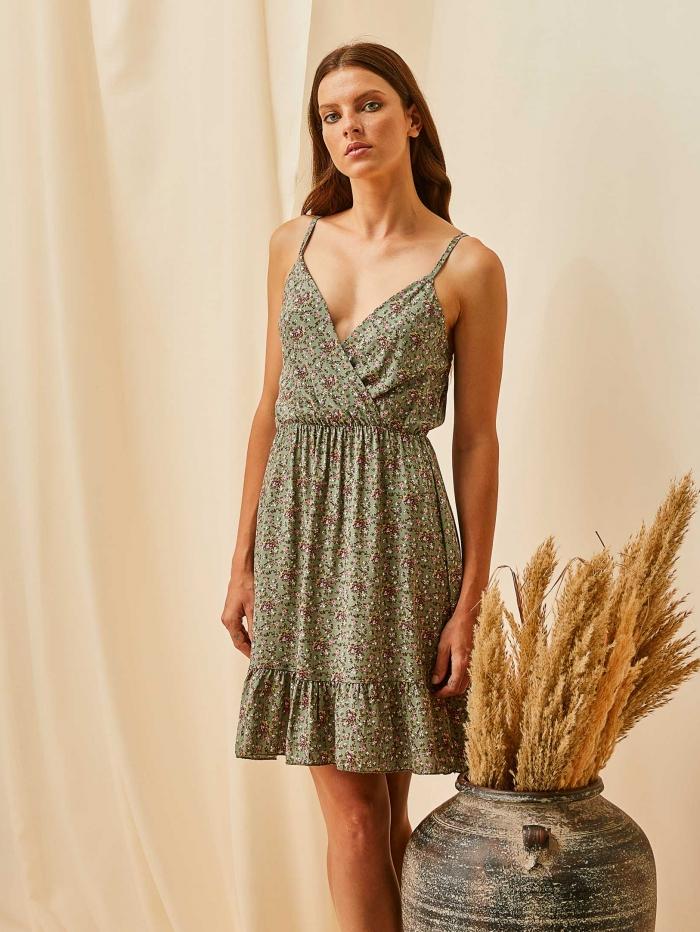 Mini φλοράλ φόρεμα με τιραντάκια