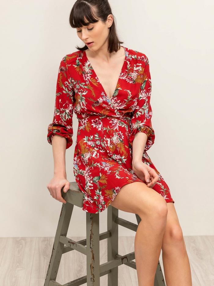 Mini φλοράλ κρουαζέ φόρεμα με δέσιμο στο πλάι
