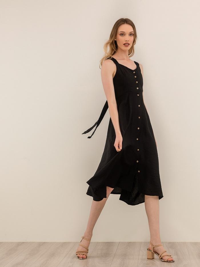 Midi φόρεμα με ράντες και κουμπιά