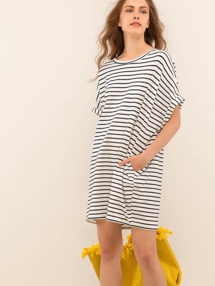 Μίνι φόρεμα oversized με ρίγες
