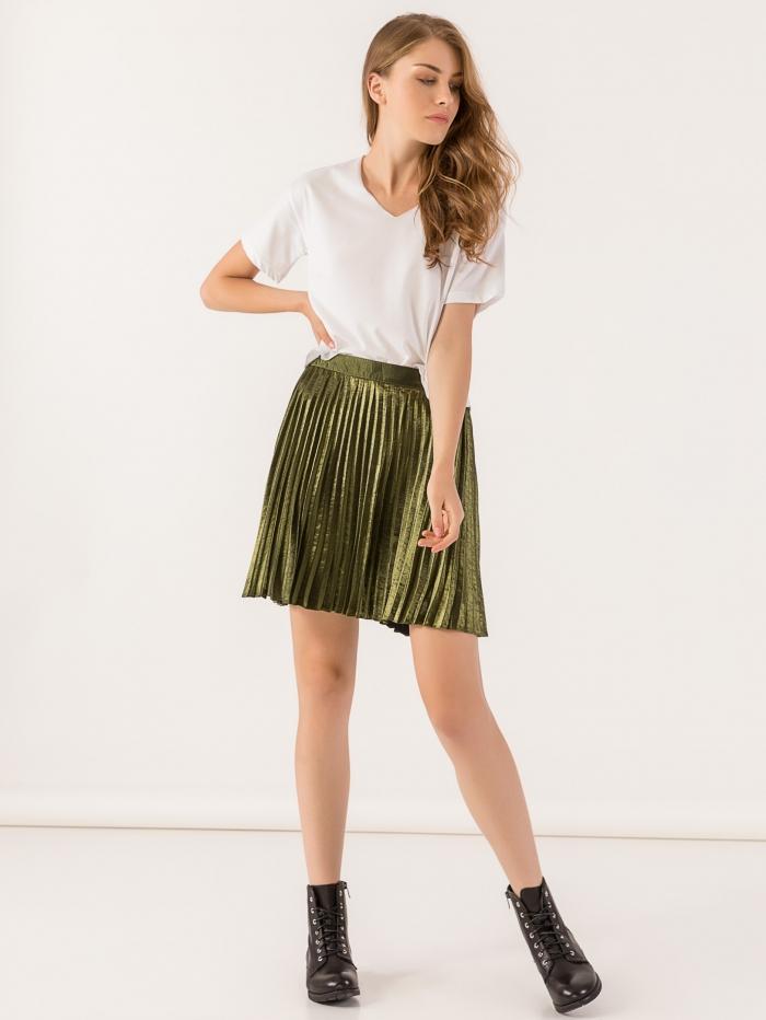 Mini φούστα μεταλλιζέ πλισέ