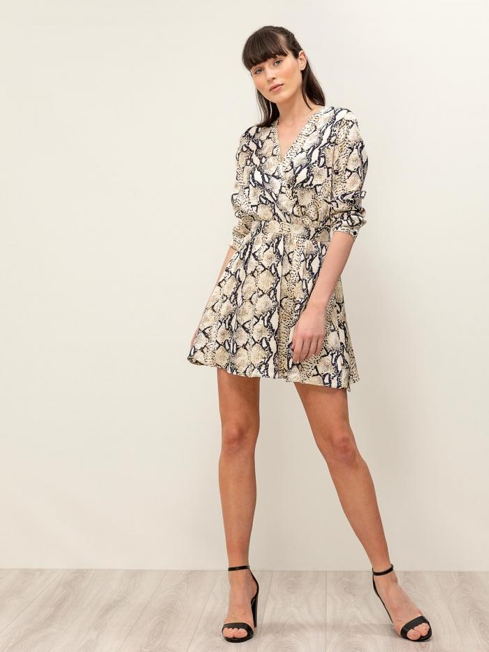 Mini κρουαζέ φόρεμα με snake print και μακριά μανίκια
