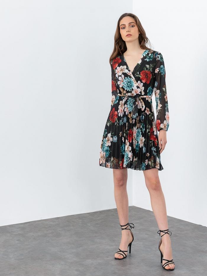 Mini κρουαζέ πλισέ φόρεμα