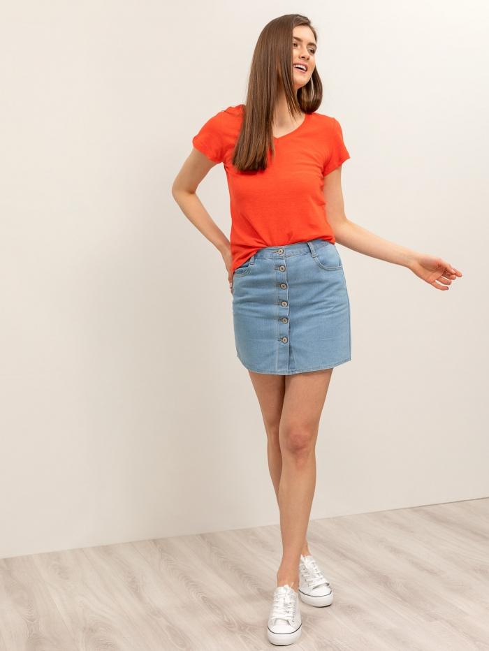 Mini τζιν φούστα με κουμπιά
