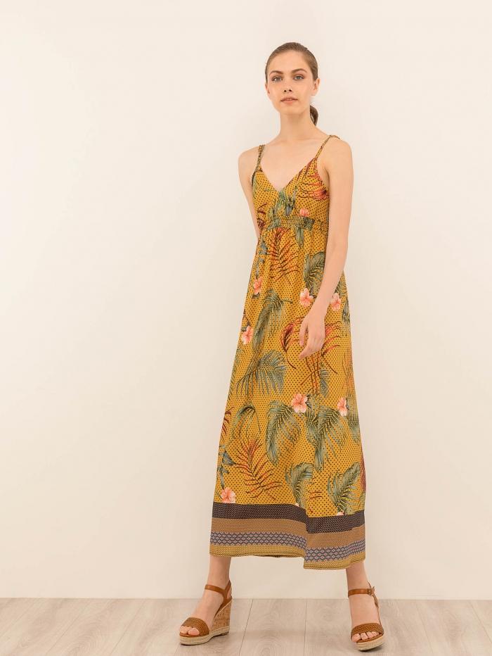 Μουσταρδί μάξι φλοράλ φόρεμα