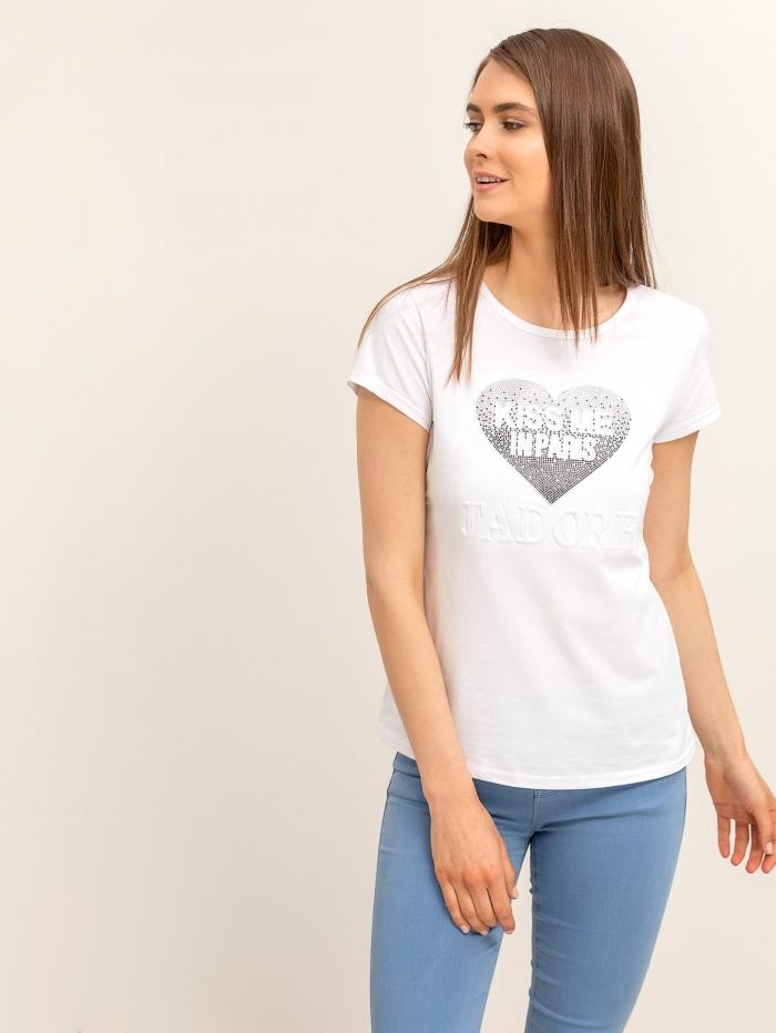 Μπλούζα με καρδιά από στρας