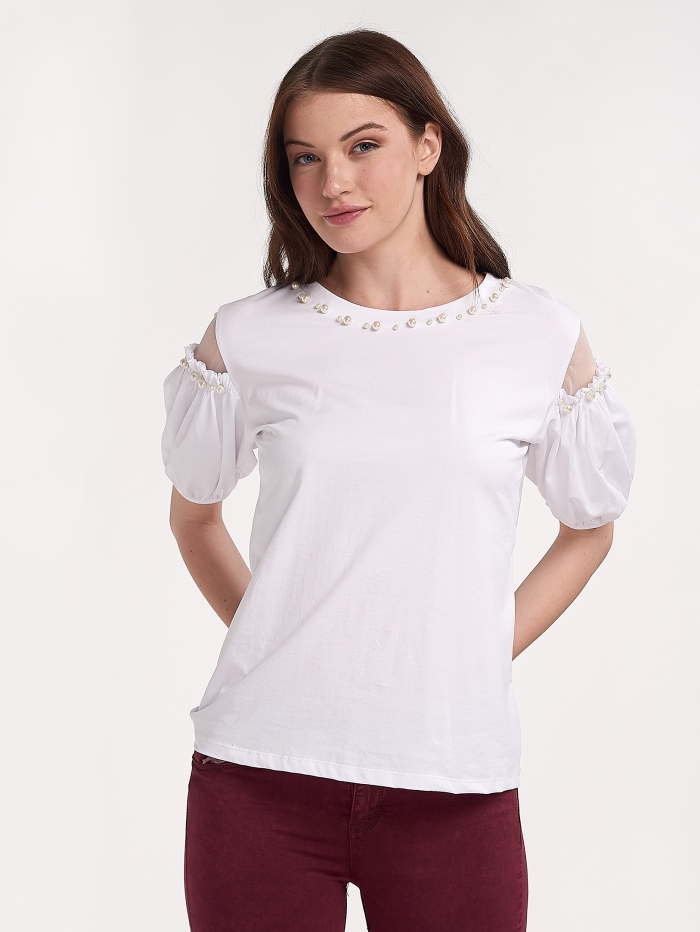 91794f6600f Μπλούζα με πέρλες και διαφάνεια