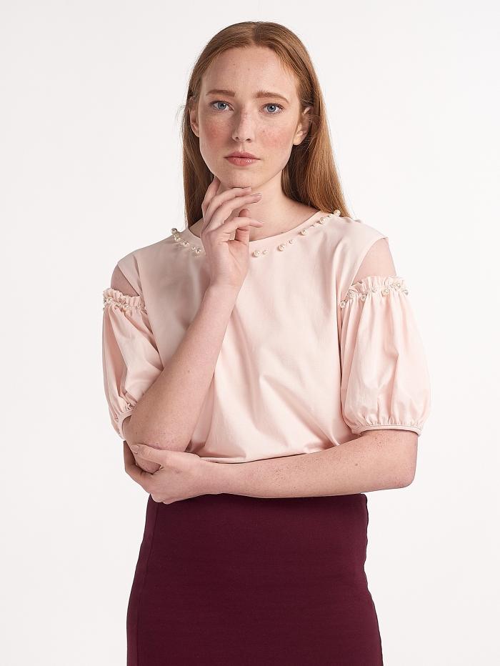 Μπλούζα με πέρλες και διαφάνεια