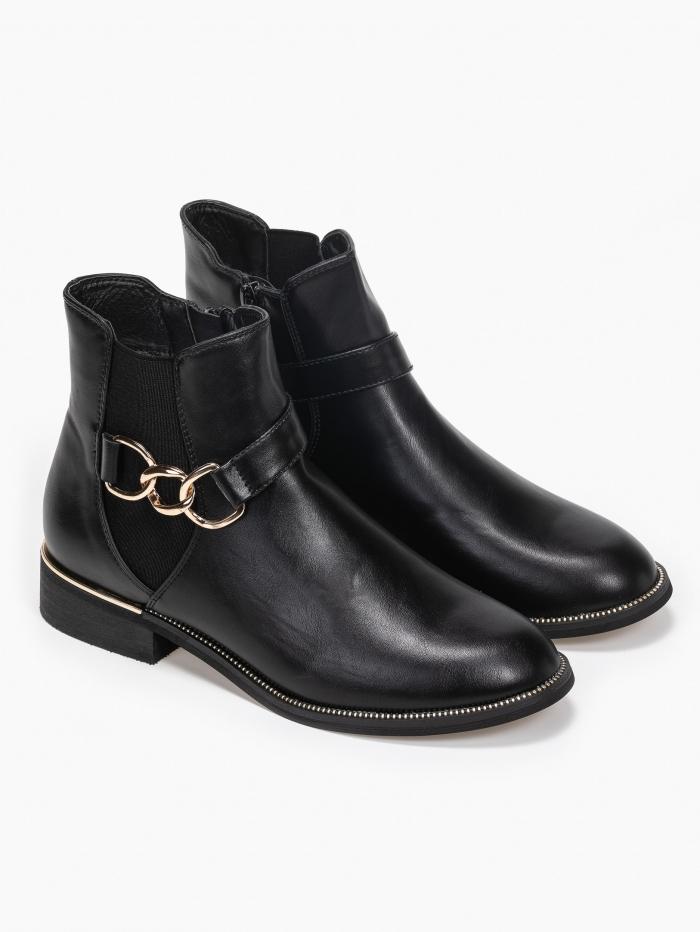 Χαμηλά ankle boots με αλυσίδα