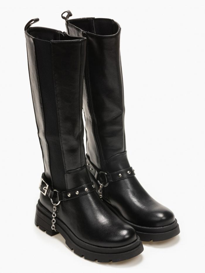 Μπότες casual με ζώνη και αλυσίδα