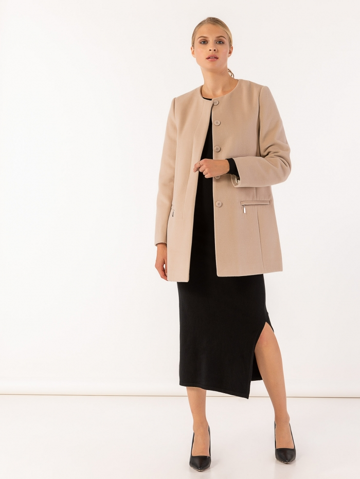 Παλτό χωρίς γιακά με τσέπες μπροστά που κλείνουν με φερμουάρ