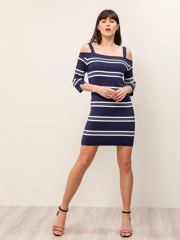 Πλεκτό φόρεμα με ρίγες