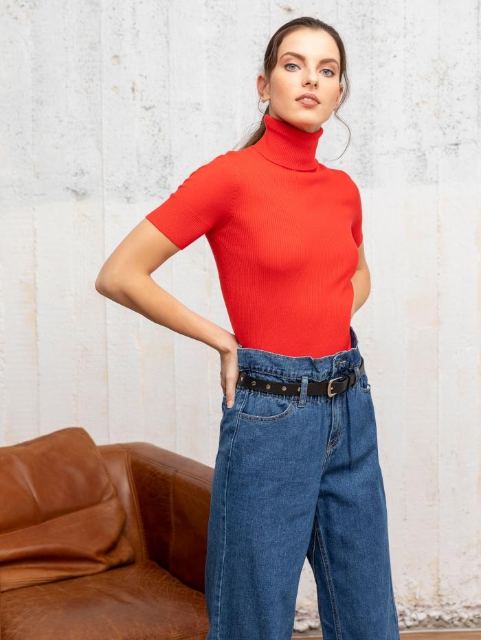 Πλεκτό μπλουζάκι με ζιβάγκο