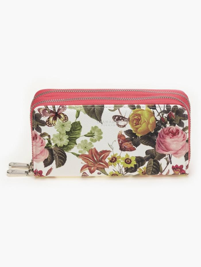 Πορτοφόλι φλοράλ με διπλό φερμουάρ
