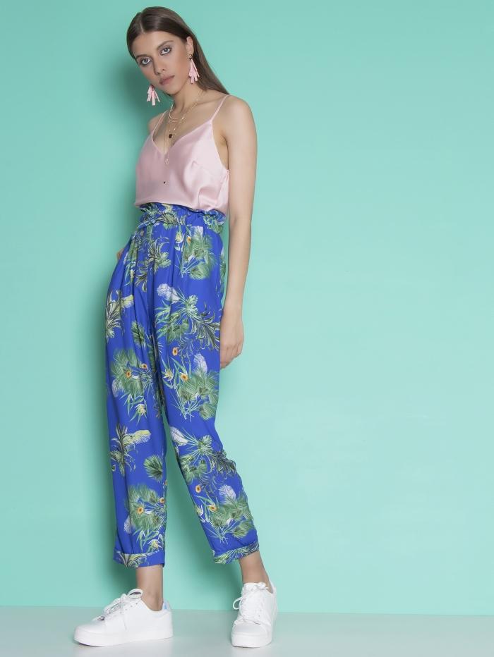 Ψηλόμεση φλοράλ παντελόνα με ρεβέρ