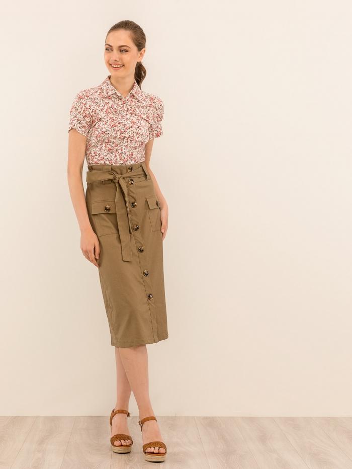Ψηλόμεση midi φούστα με κοκάλινα κουμπιά