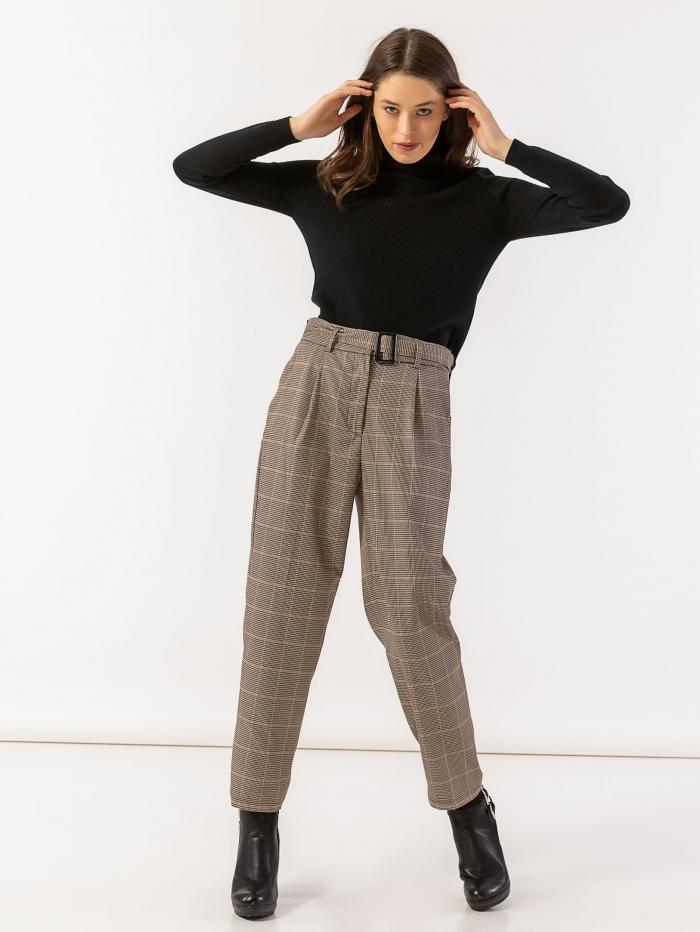 Ψηλόμεσο καρό παντελόνι