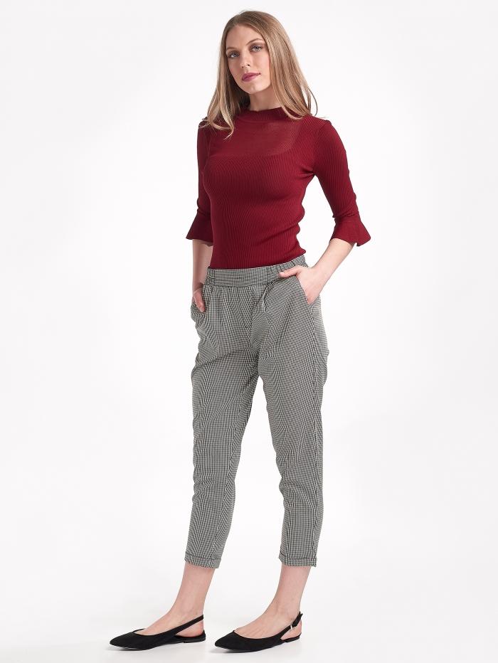 Ψηλόμεσο καρό παντελόνι με ρεβέρ