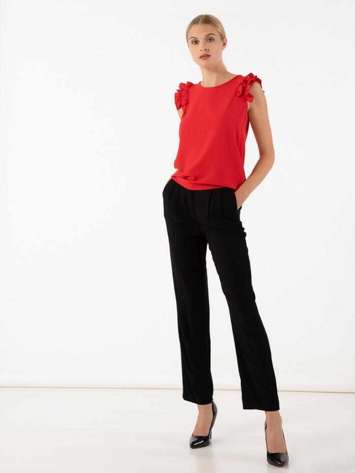 Ψηλόμεσο παντελόνι με λάστιχο στη μέση, τσεπάκια και φερμουάρ