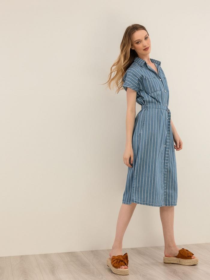 Ριγέ φόρεμα πουκάμισο με όψη denim